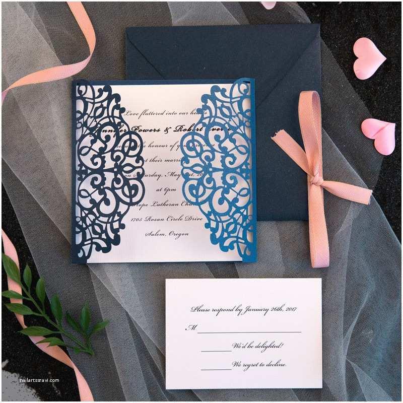 Navy Blue and Blush Wedding Invitations Classic Navy Blue Blush Pink Laser Cut Wedding Invitation