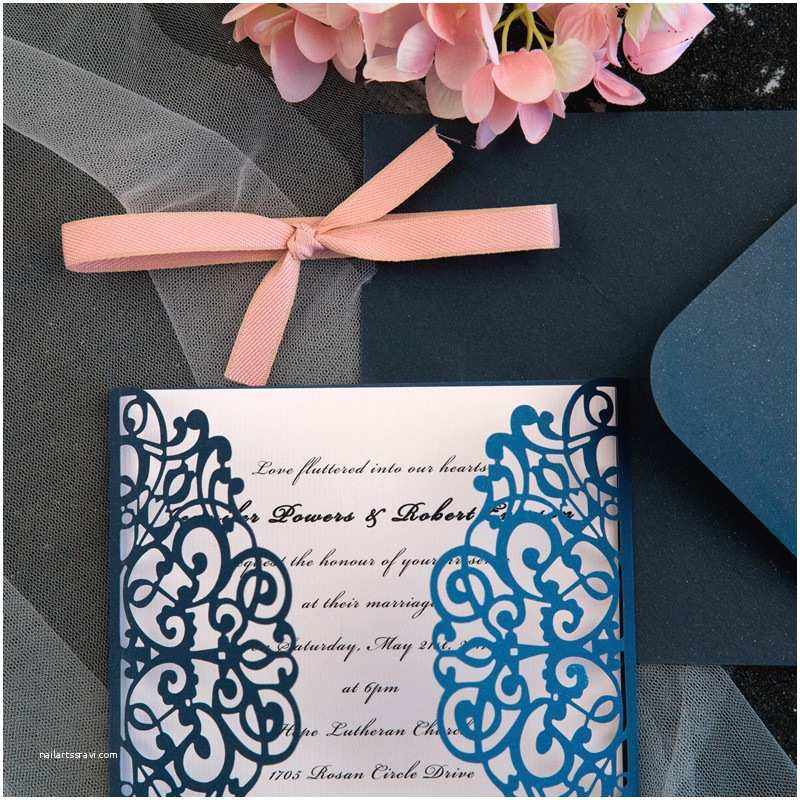 classic navy blue blush pink laser cut wedding invitation ewws072