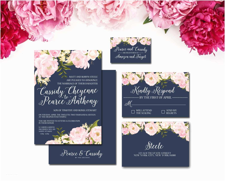 Navy Blue and Blush Wedding Invitations Navy and Blush Wedding Invitation Suite