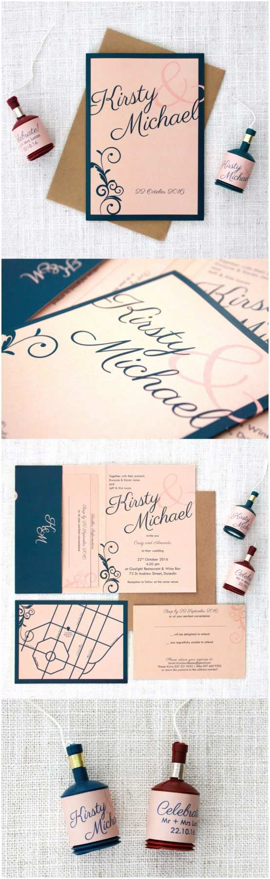 Navy Blue and Blush Wedding Invitations Navy Blue and Blush Pink Wedding Invitations Be My Guest