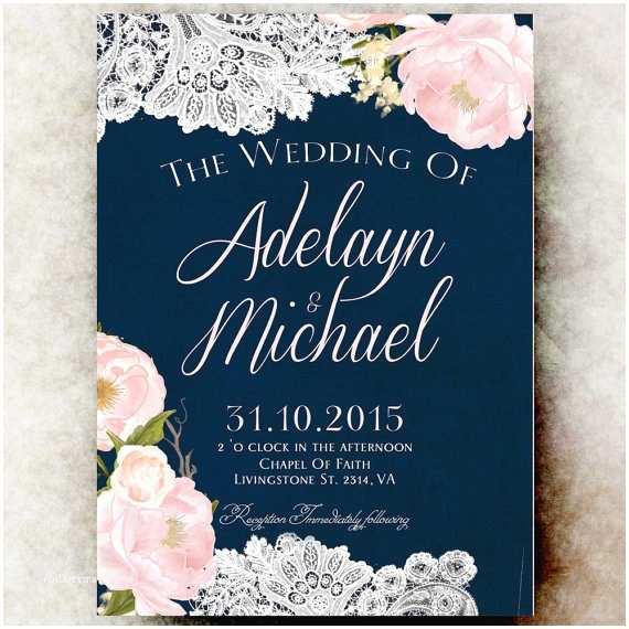 Navy Blue and Blush Wedding Invitations Navy Blue Blush Pink Wedding Invitation by