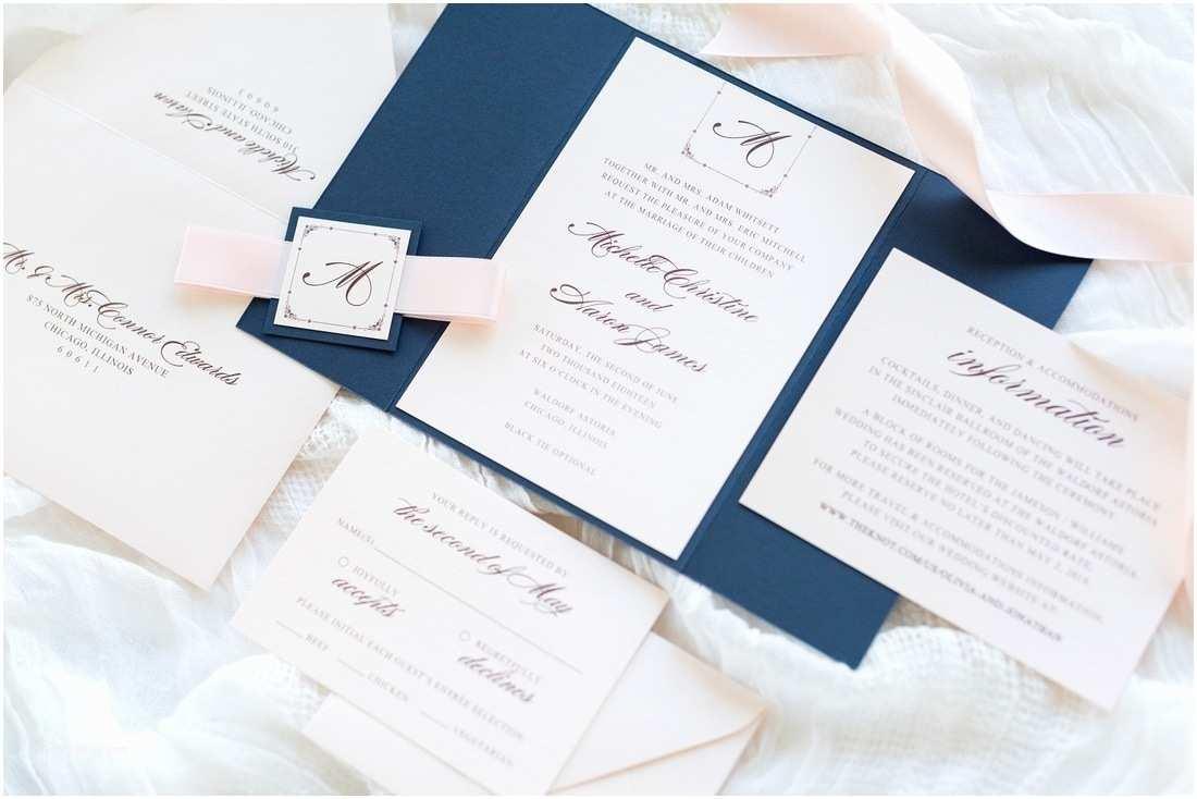 Navy Blue and Blush Wedding Invitations Navy Blue Blush Shimmer and Blush Ribbon Wedding