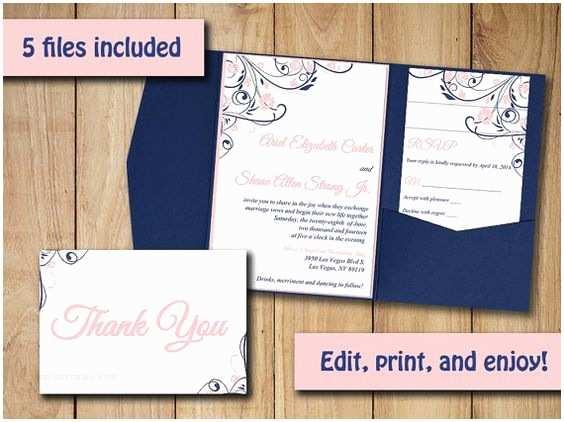 Navy Blue and Blush Wedding Invitations Wedding Pocketfold Invitation Template Blush Navy Pocket