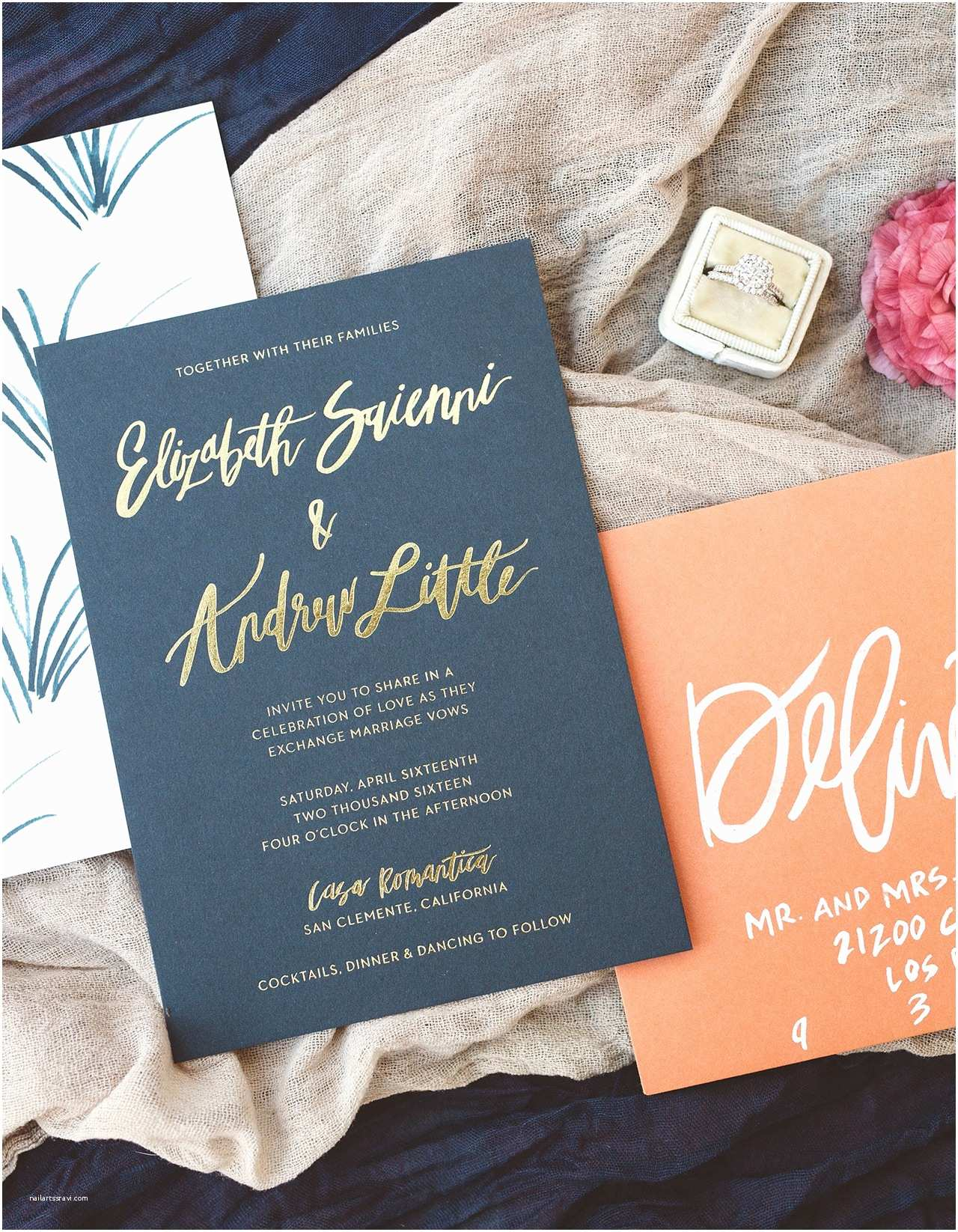 Navy Blue and Coral Wedding Invitations Brush Lettered Gold and Navy Wedding Invitations