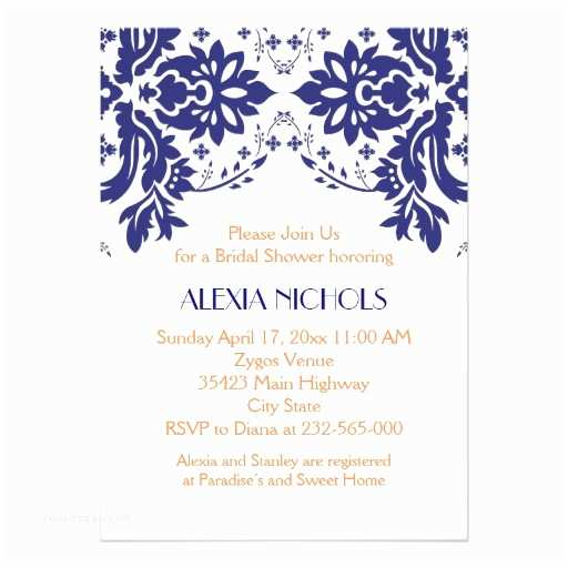 Navy Blue and Coral Wedding Invitations Damask Navy Blue Coral Wedding Bridal Shower 5x7 Paper