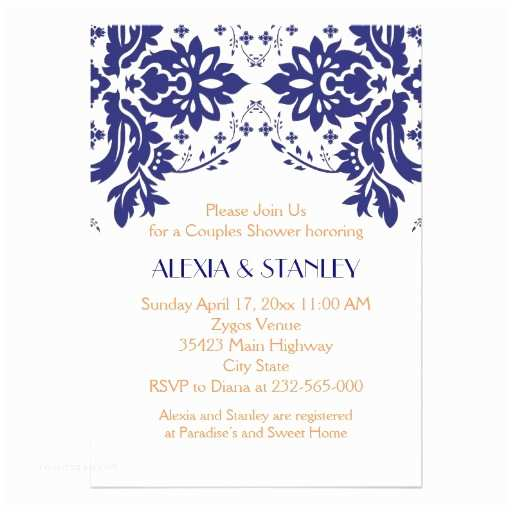 Navy Blue and Coral Wedding Invitations Damask Navy Blue Coral Wedding Couples Shower 5x7 Paper