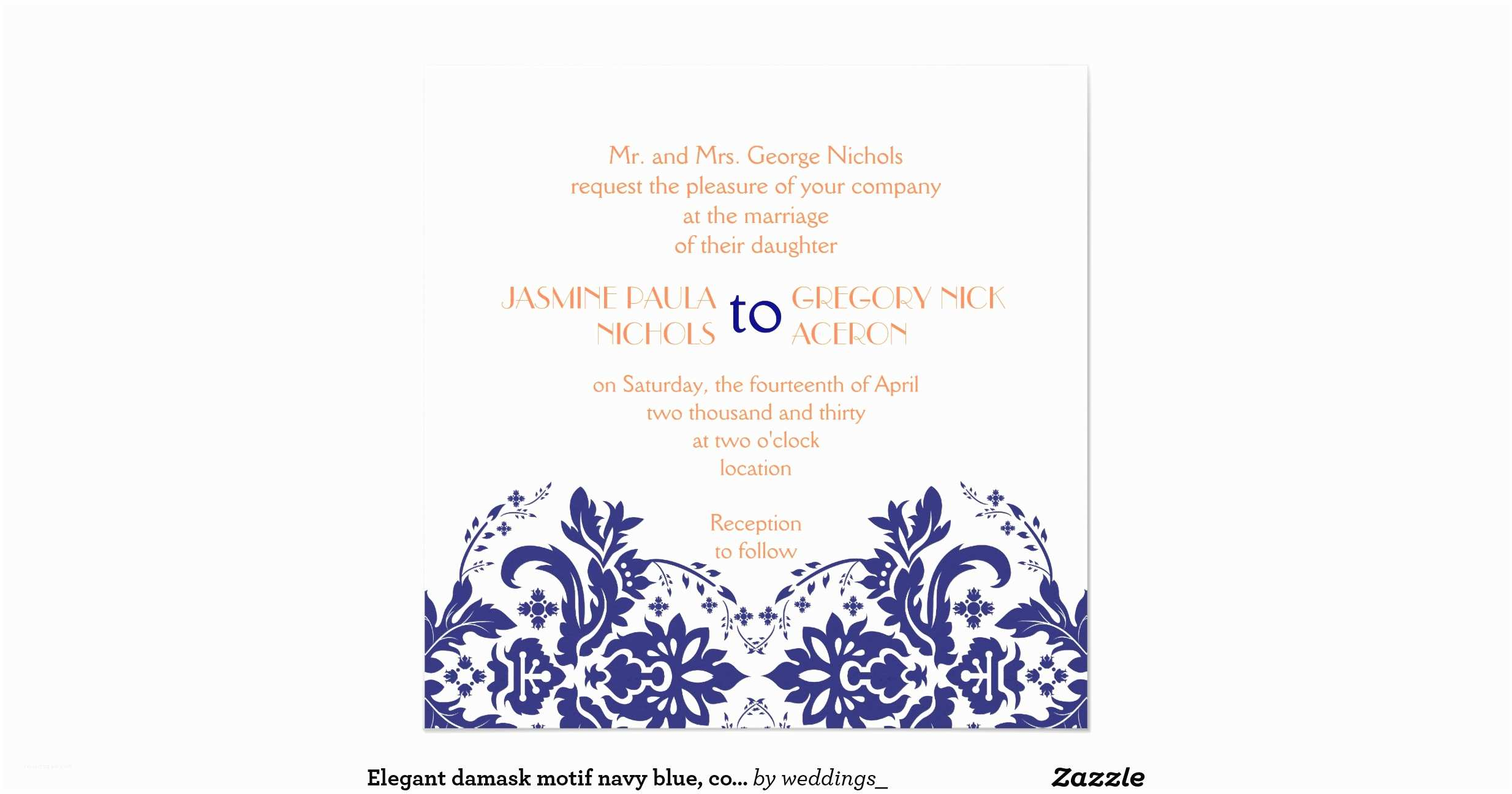Navy Blue and Coral Wedding Invitations Elegant Damask Motif Navy Blue Coral Wedding Invitation