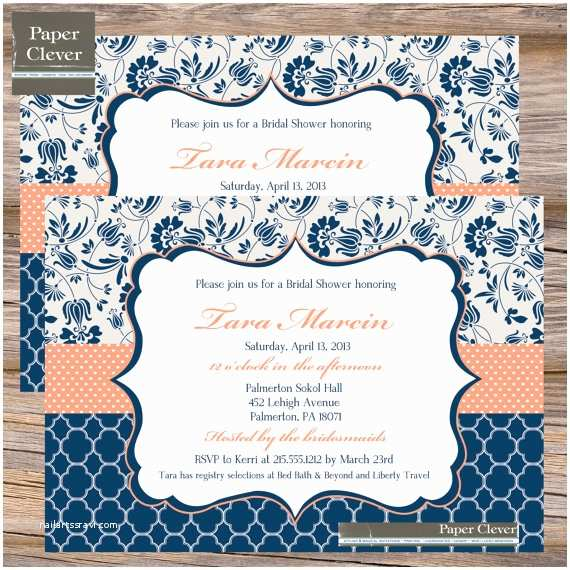 bridal shower invitation navy blue coral