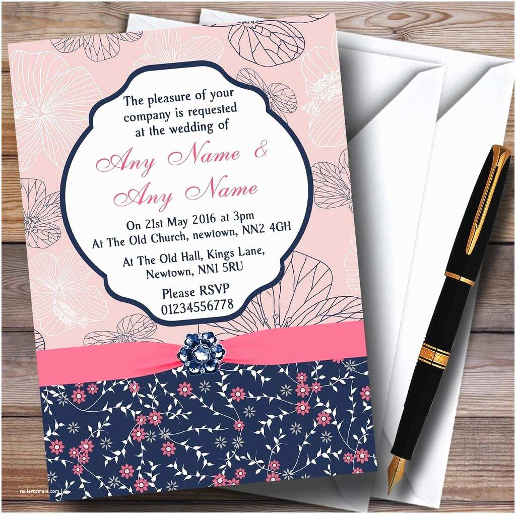 Navy Blue and Coral Wedding Invitations Navy Blue & Coral Pink Floral Personalised Wedding