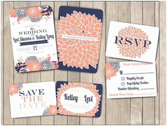 Navy Blue and Coral Wedding Invitations Navy Blue and Coral Pink Salmon Custom Wedding Invitation