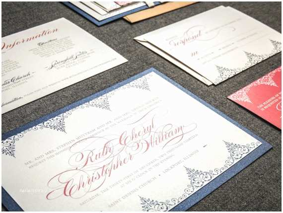 Navy Blue and Coral Wedding Invitations Navy Blue and Coral Wedding Invitations by Juliehanandesign