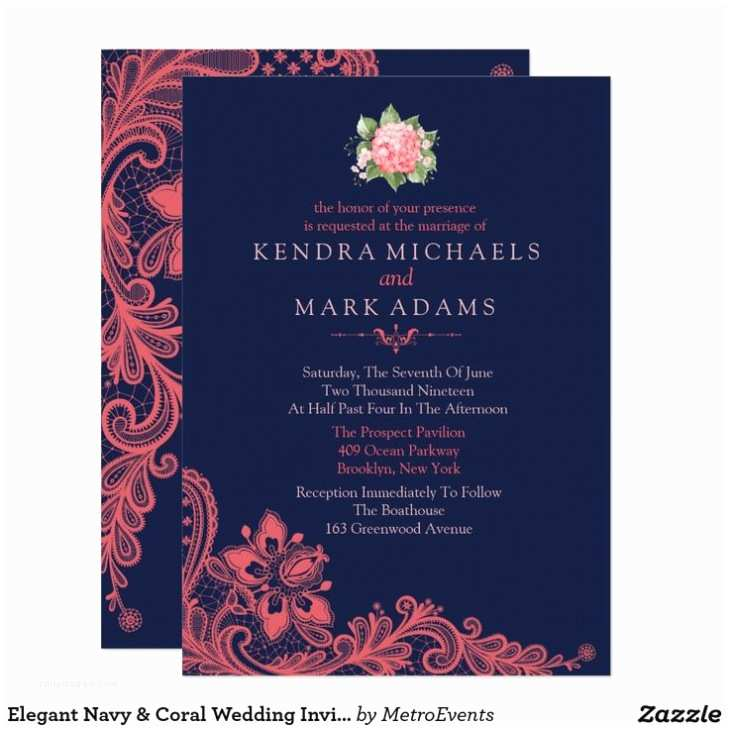 Navy Blue and Coral Wedding Invitations Navy Blue and Coral Wedding Invitations Cool Album Navy