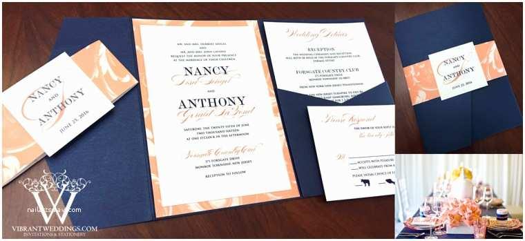 Navy Blue and Coral Wedding Invitations Pocket Fold Invitations – A Vibrant Wedding