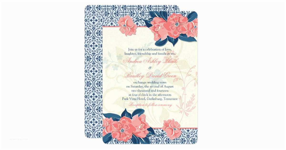 Navy Blue and Coral Wedding Invitations Wedding Invitations Blue and Coral Yaseen for