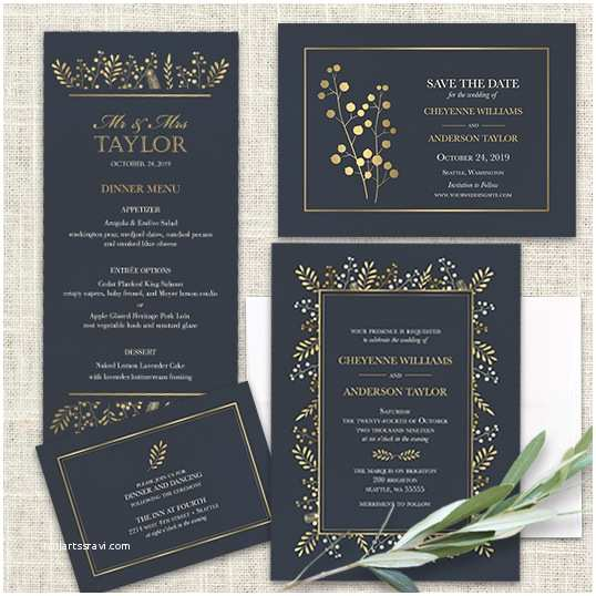 Navy Blue and Gold Wedding Invitations Fall Wedding Invitation Suite Navy Blue Gold Leaves