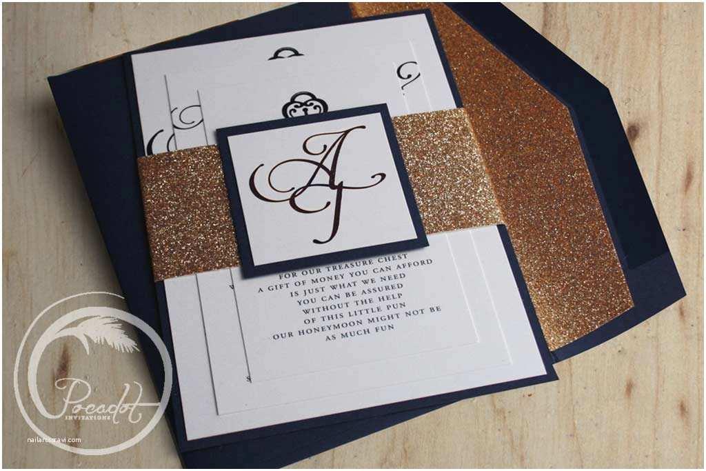 Navy Blue and Gold Wedding Invitations Navy Blue & Gold Foil Glitter Wedding Invite Pocadot