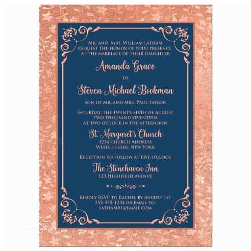 Navy Blue and Gold Wedding Invitations Navy Blue and Copper Look or Rose Gold Floral Wedding