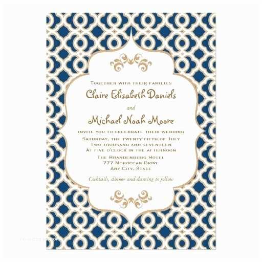 Navy Blue and Gold Wedding Invitations Navy Blue and Gold Moroccan Wedding Invitations