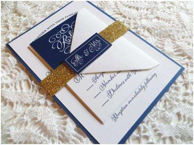Navy Blue and Gold Wedding Invitations Navy Wedding Invitation with Gold Glitter Belly Band Gold