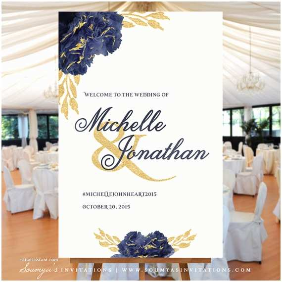 Navy Blue and Gold Wedding Invitations Wel E Wedding Sign Gold and Navy Wedding Wel E Sign