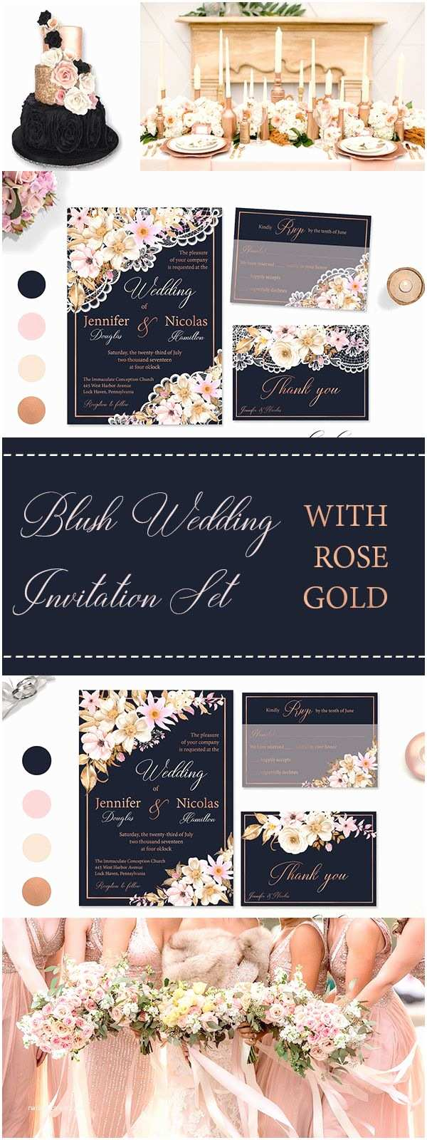 Navy Blue and Rose Gold Wedding Invitations Best 25 Rose Gold Weddings Ideas On Pinterest