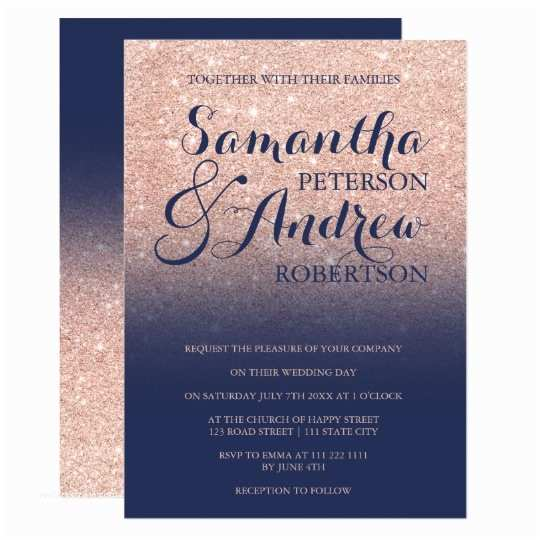 Navy Blue and Rose Gold Wedding Invitations Chic Faux Rose Gold Glitter Navy Blue Wedding Card with