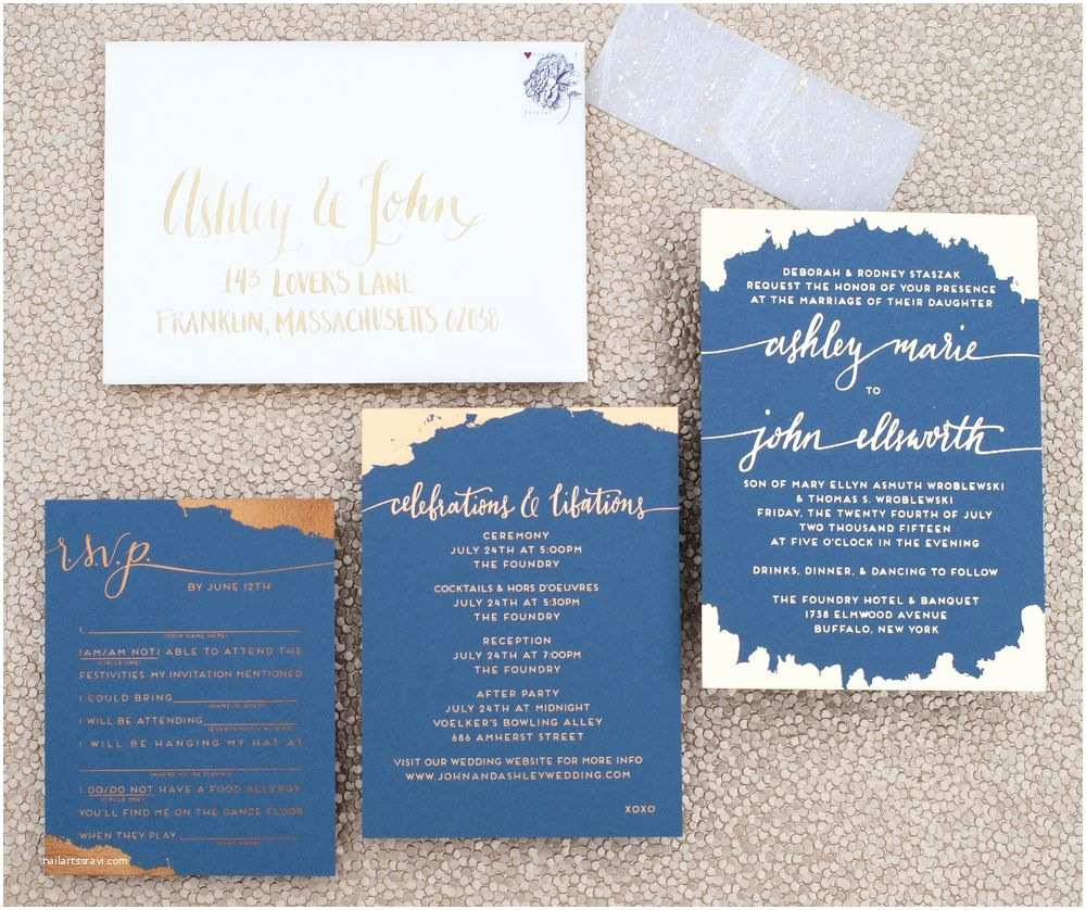 Navy Blue and Rose Gold Wedding Invitations Dark Blue and Mixed Metallics Wedding Invitation with