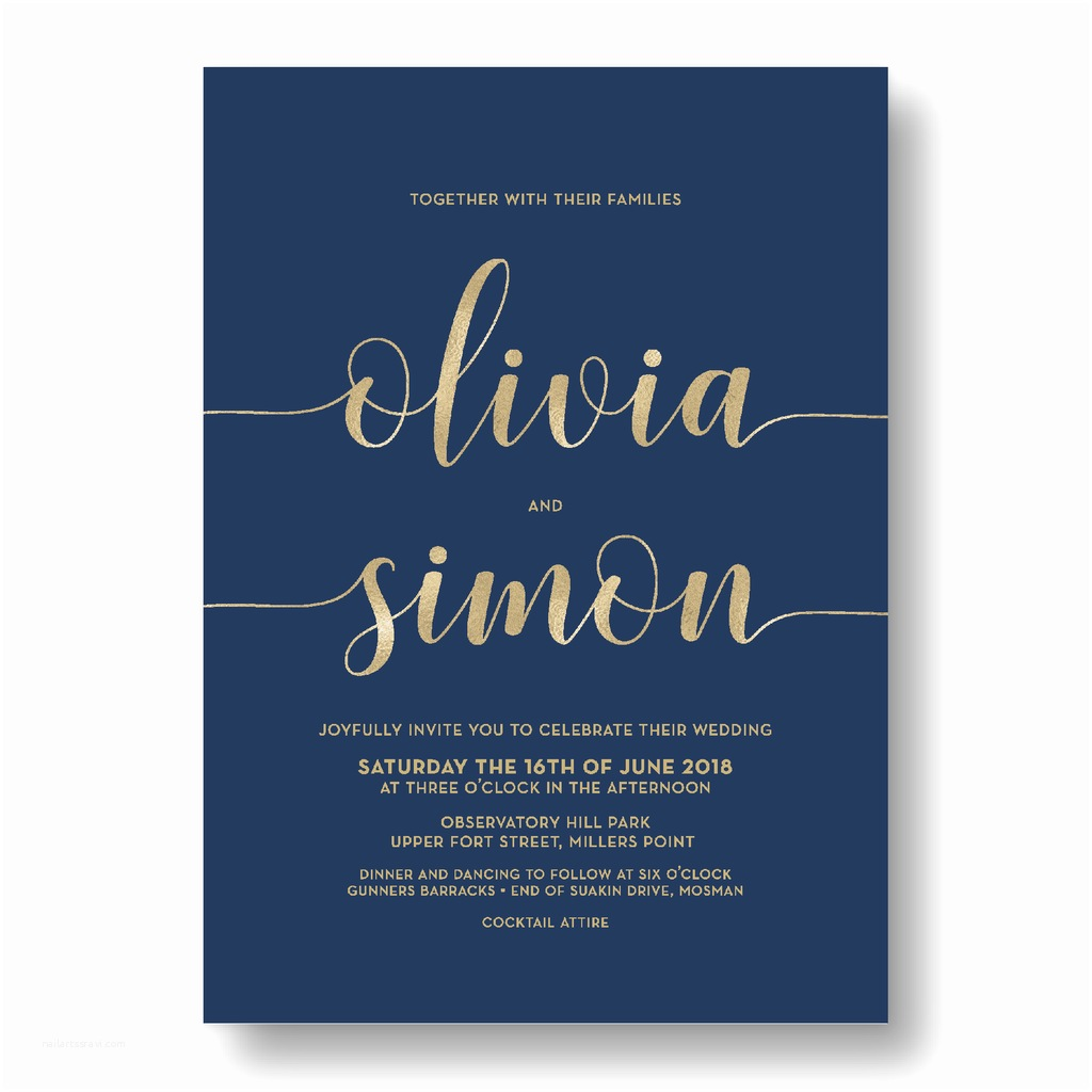 Navy Blue and Rose Gold Wedding Invitations Fast & Affordable Wedding Invitations Australia · Navy