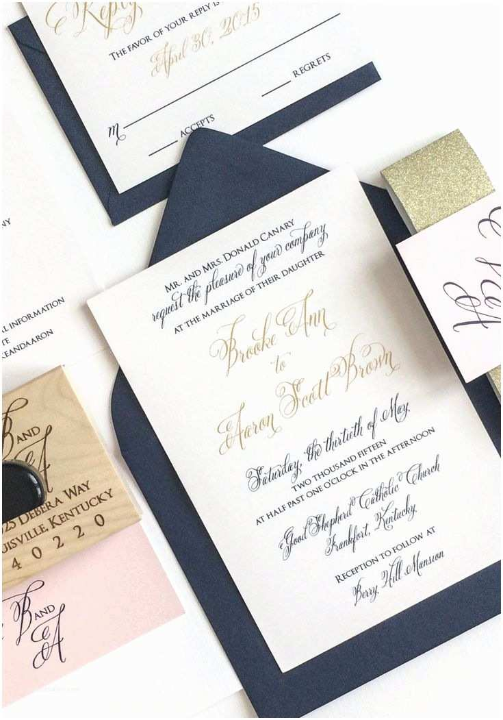 Navy Blue and Rose Gold Wedding Invitations Gold Navy and Blush Wedding Invitation for A Kentucky