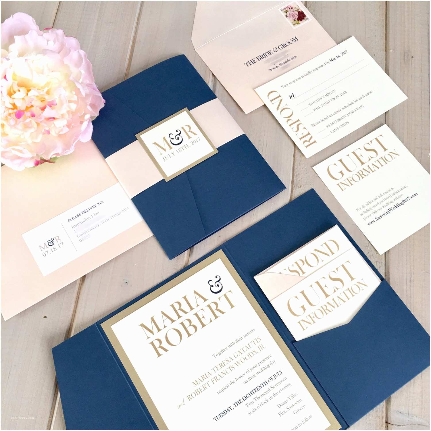 Navy Blue and Rose Gold Wedding Invitations Navy Blush and Gold Wedding Invitations Navy and Pink