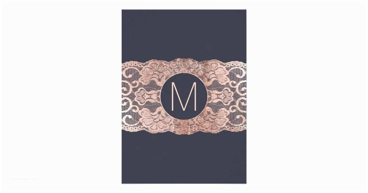 Navy Blue and Rose Gold Wedding Invitations Rose Gold Lace and Navy Blue Wedding Invitations