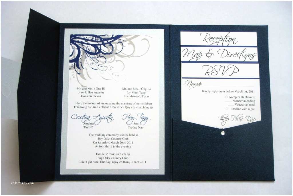 Navy Blue and Silver Wedding Invitations Blue Navy and Silver Vietnamese Wedding Invitations