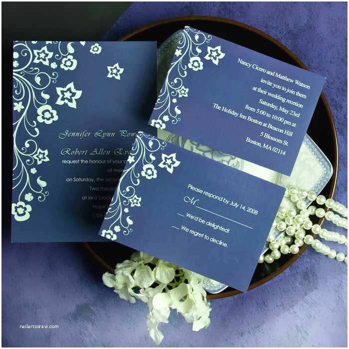 Navy Blue and Silver Wedding Invitations Discount Retro Garden Navy Blue Floral Wedding Invitation