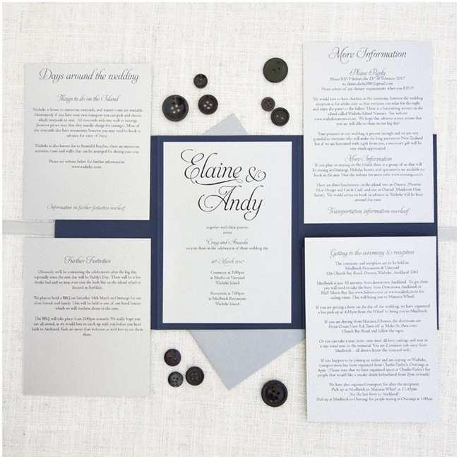 navy blue silver pocketfold wedding invitation