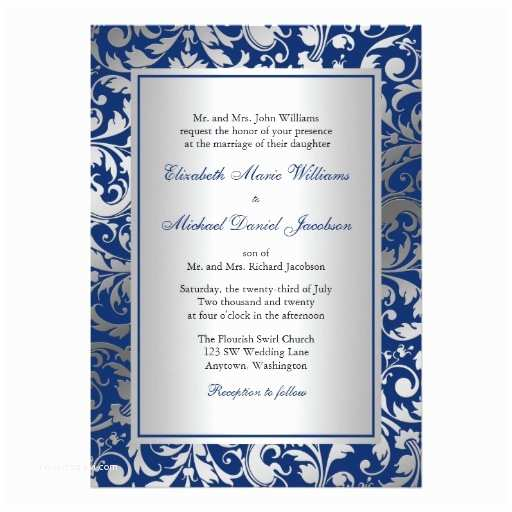 Navy Blue and Silver Wedding Invitations Navy Blue and Silver Damask Swirls Wedding 5x7 Paper