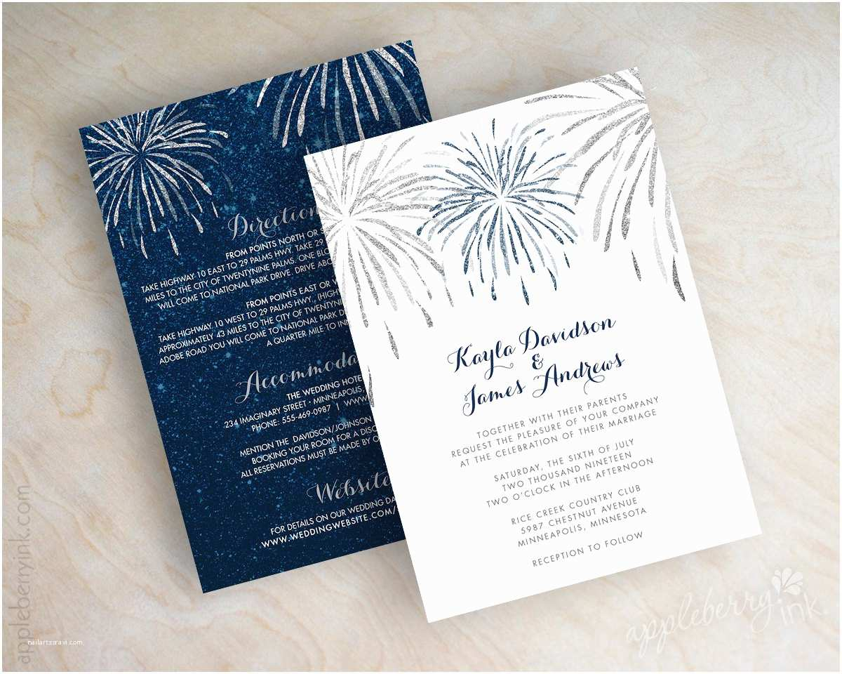 Navy Blue and Silver Wedding Invitations Navy Blue and Silver Glitter Wedding Invitation 4th Of July