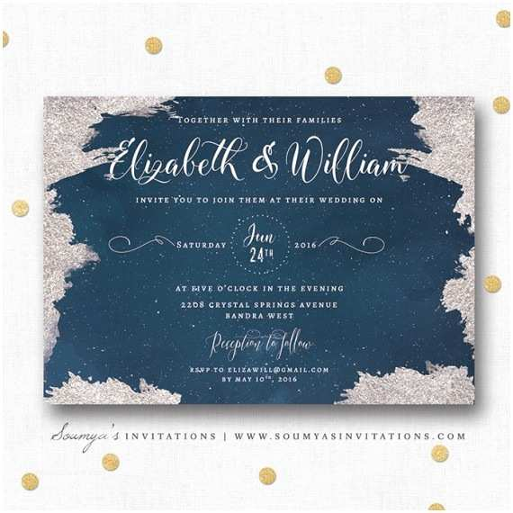 Navy Blue and Silver Wedding Invitations Navy Blue and Silver Star Wedding Invitation