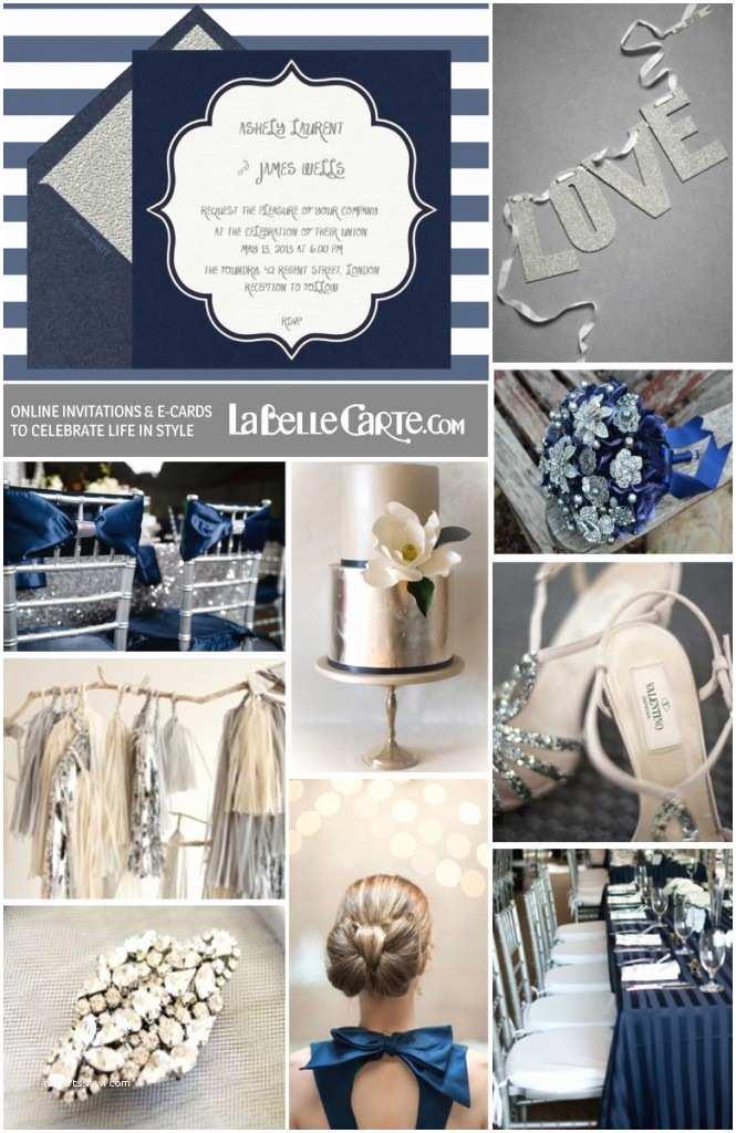 Navy Blue and Silver Wedding Invitations Weddings