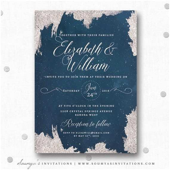 Navy Blue and Silver Wedding Invitations Winter Wonderland Wedding Invitations