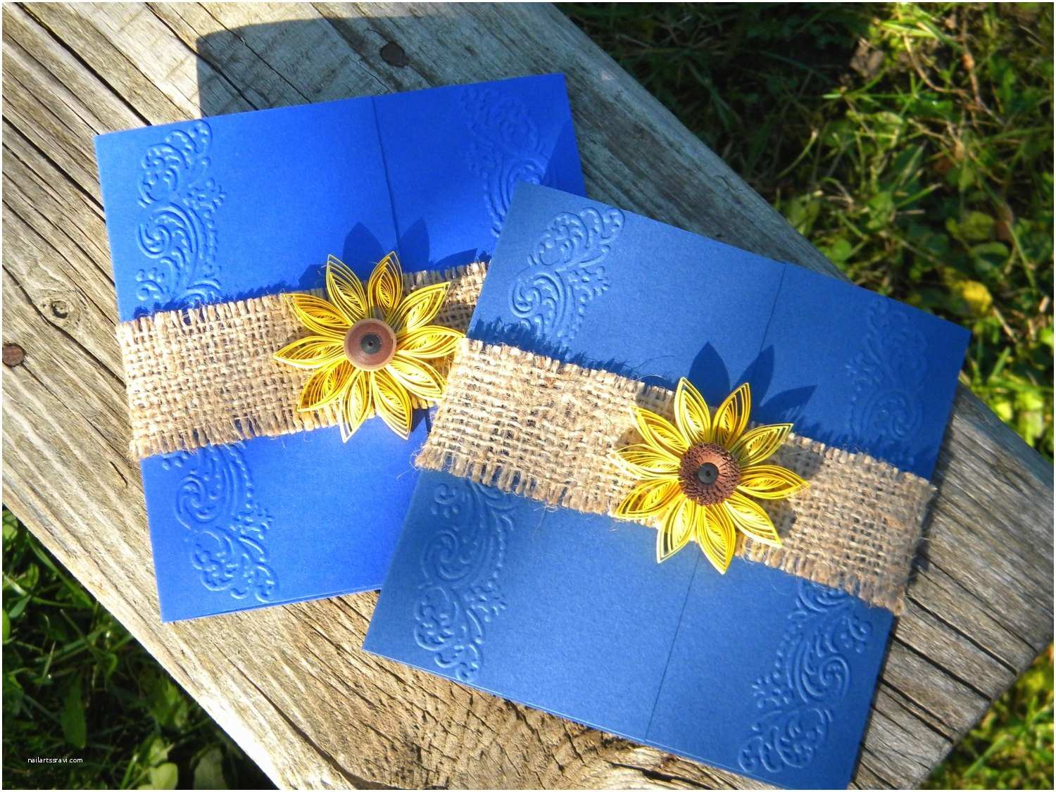 Navy Blue and Sunflower Wedding Invitations Cobalt Blue and Sunflower Wedding Invitation Burlap Wedding