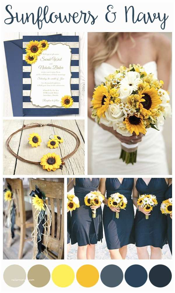Navy Blue and Sunflower Wedding Invitations Inspiration Boards – Shishko Templates