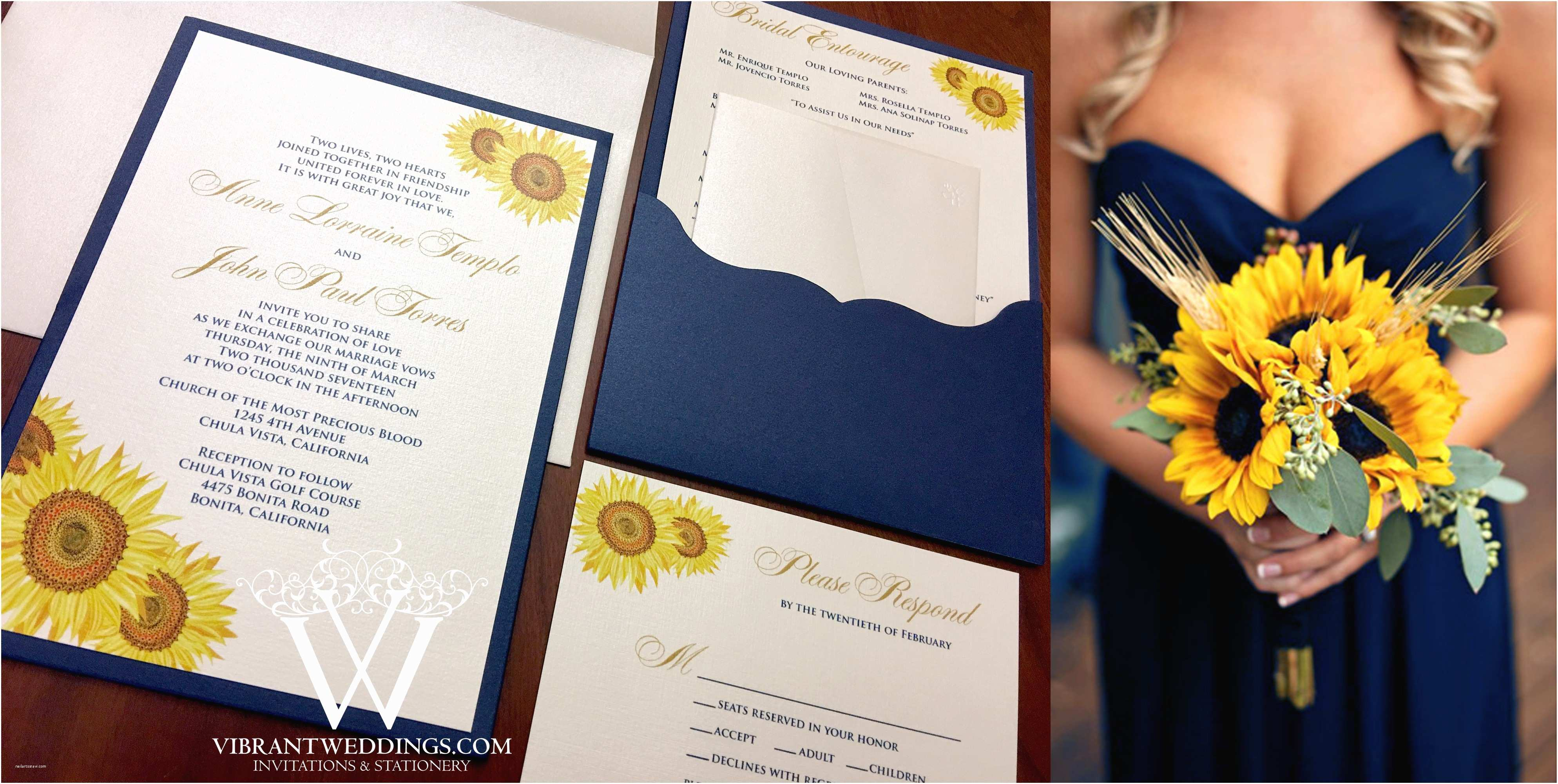 Navy Blue and Sunflower Wedding Invitations Navy Blue and Sunflower Wedding Invitations Nice Navy Blue