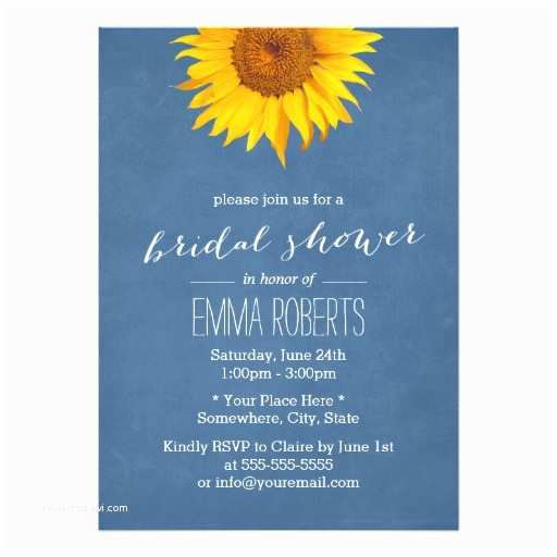 Navy Blue and Sunflower Wedding Invitations Navy Blue Sunflower Bridal Shower Invitations