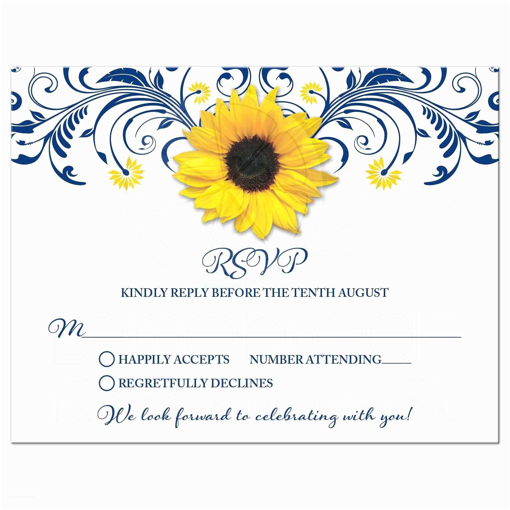 Navy Blue and Sunflower Wedding Invitations Navy Blue Sunflower Floral Wedding Rsvp Card