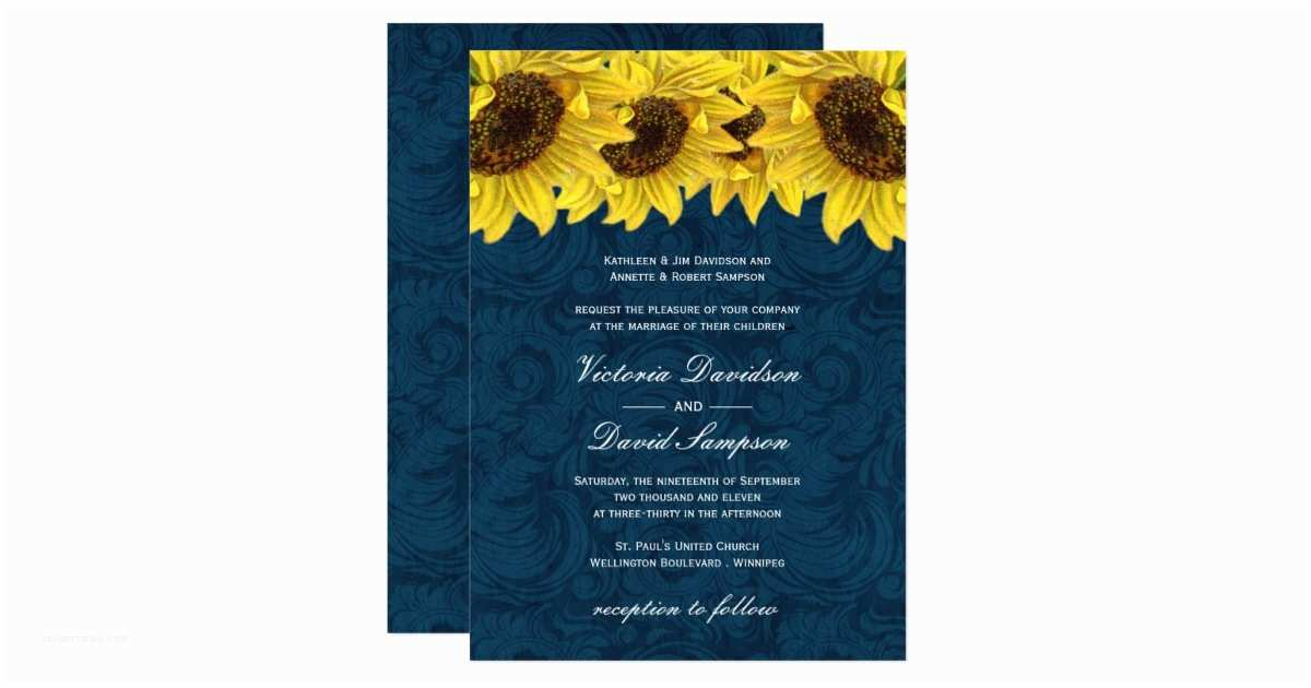 Navy Blue and Sunflower Wedding Invitations Navy Blue Sunflower Wedding Invitation