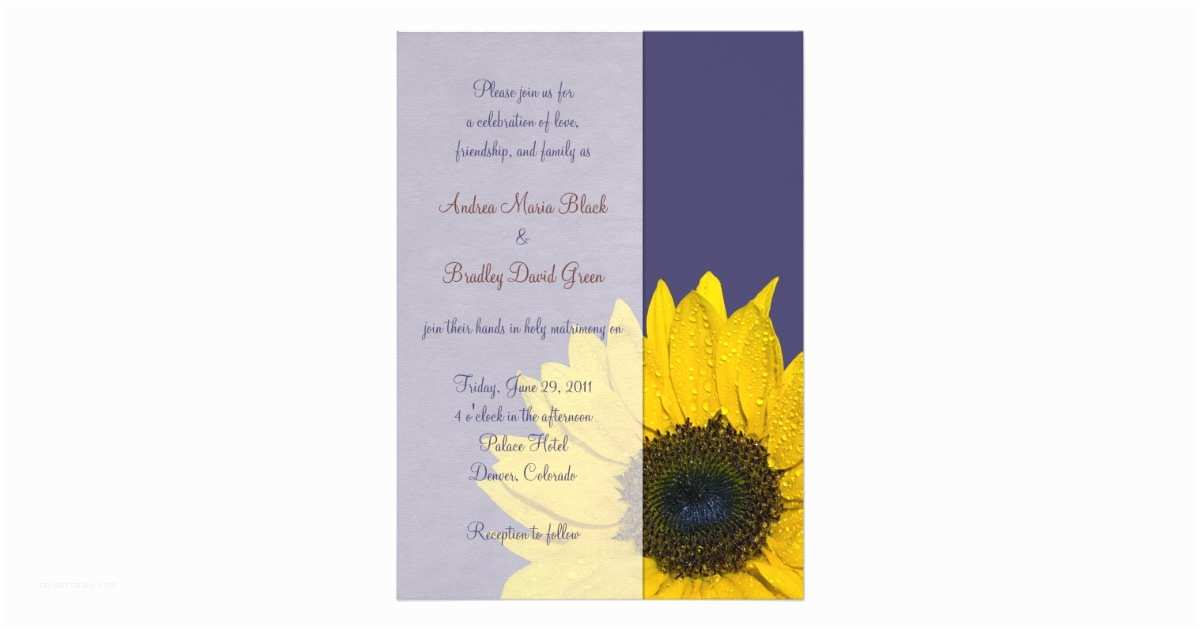 Navy Blue and Sunflower Wedding Invitations Navy Blue Yellow Sunflower Wedding Invitation