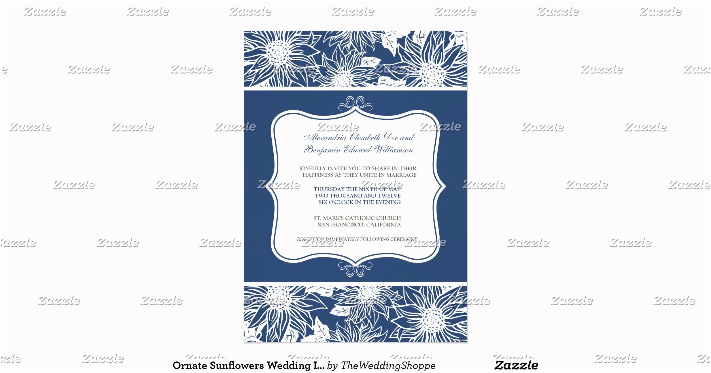 Navy Blue and Sunflower Wedding Invitations ornate Sunflowers Wedding Invitation Navy Blue