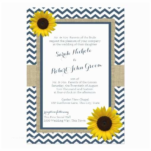 Navy Blue and Sunflower Wedding Invitations Sunflower and Chevron Navy Blue Rustic Wedding 5x7 Paper