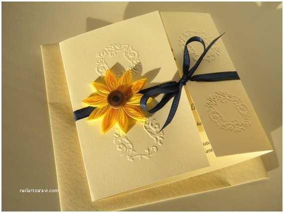 Navy Blue and Sunflower Wedding Invitations Sunflower and Navy Blue Wedding Invitation Sunflower and