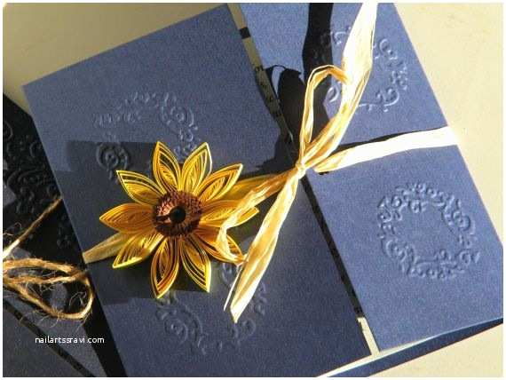 Navy Blue and Sunflower Wedding Invitations Sunflower and Navy Blue Wedding Invitation Sunflower